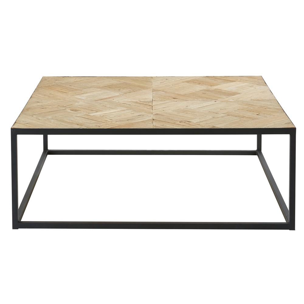 Tavolino da salotto intarsiato in olmo riciclato e metallo nero