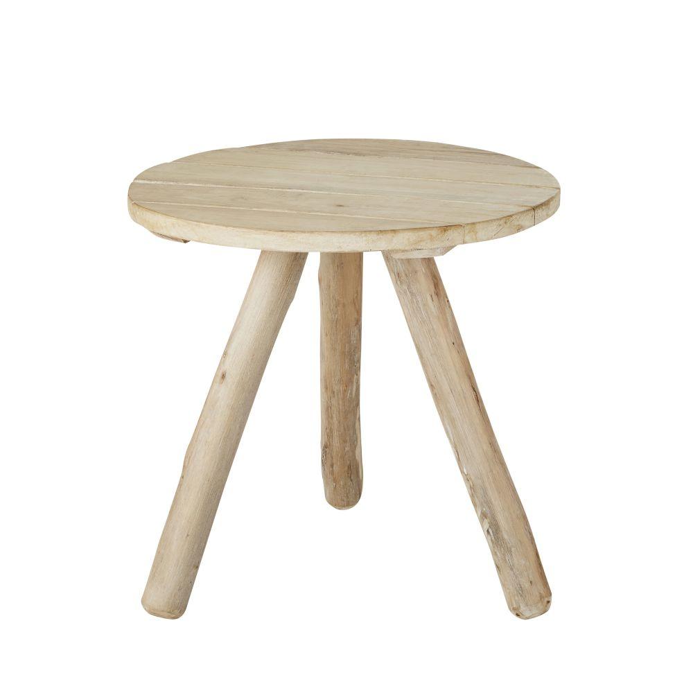 Tavolino da salotto rotondo a doghe in rovere chiaro