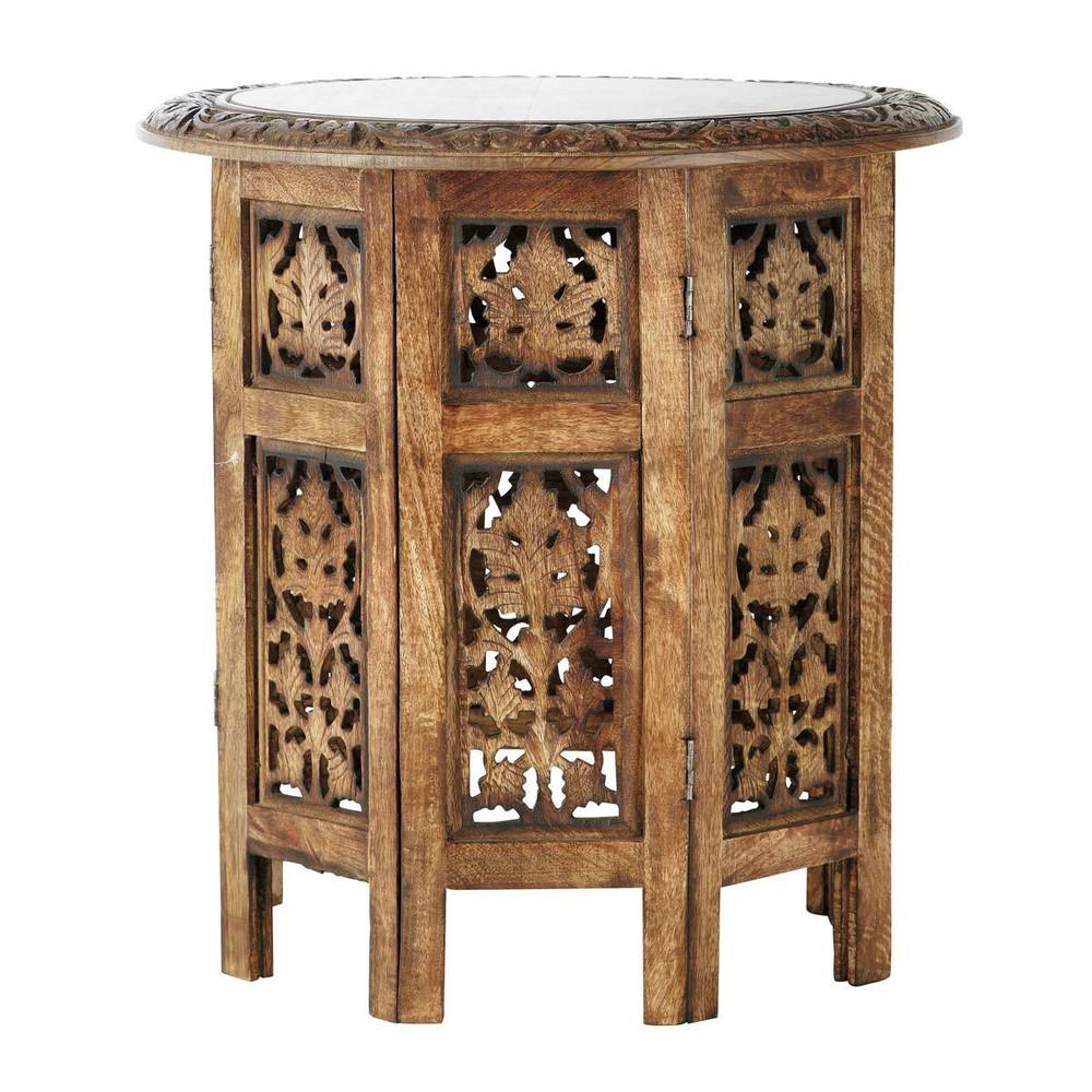 Tavolino da salotto scolpito in legno L 46 cm