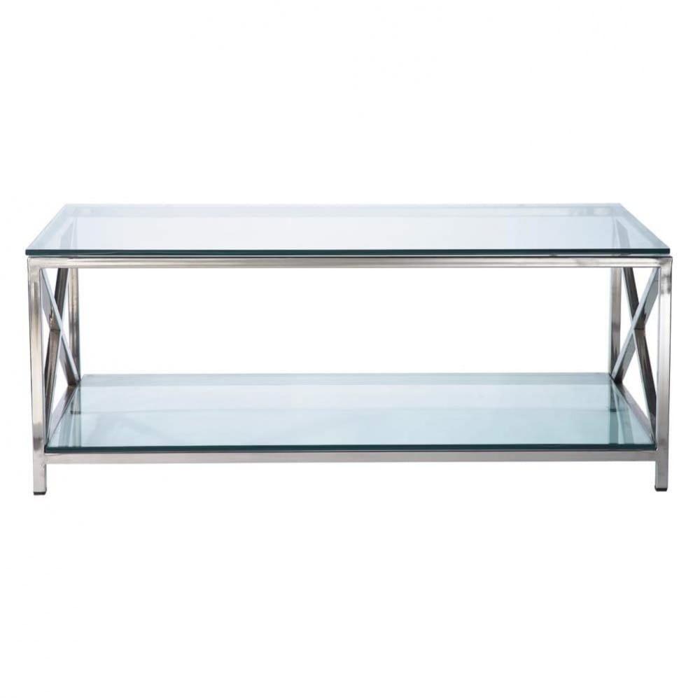 Tavolo basso in vetro e metallo L110