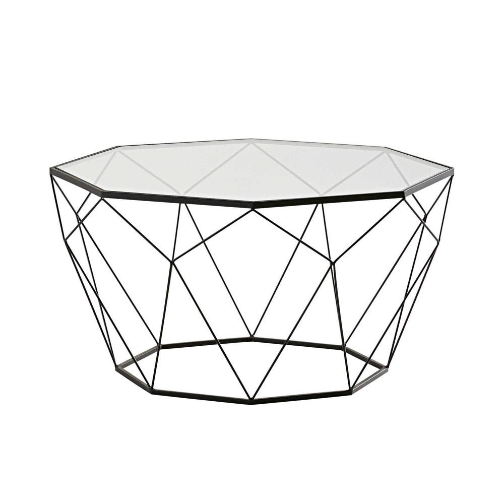Tavolo basso nero in vetro temprato e metallo