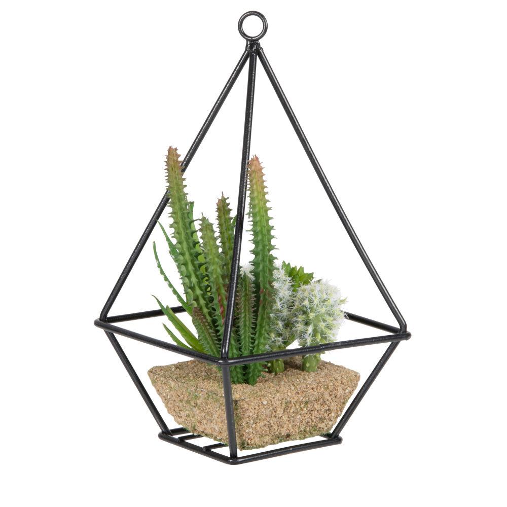 Terrarium en métal noir et plantes artificielles