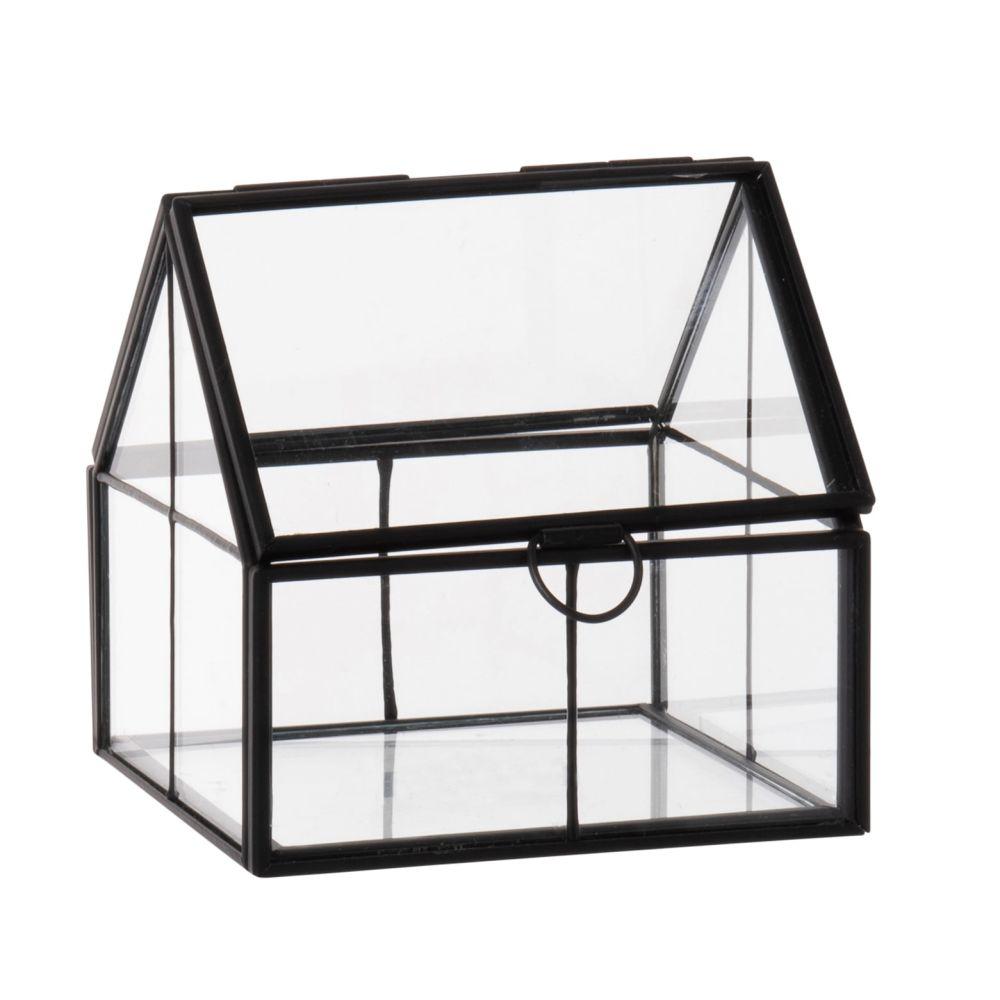 Terrarium maison en verre et métal noir