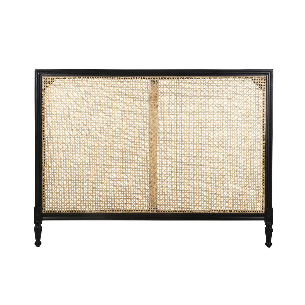 Tête de lit 160 en manguier massif noir et cannage en rotin tressé