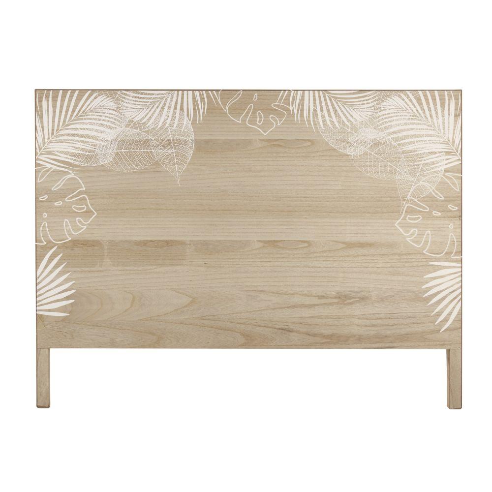 Tête de lit 160 en pin massif imprimé feuillage blanc