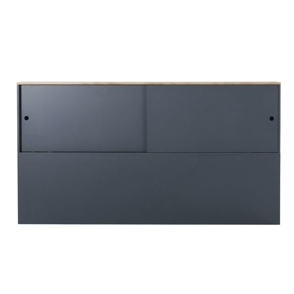 Tête de lit 190 gris anthracite avec rangements