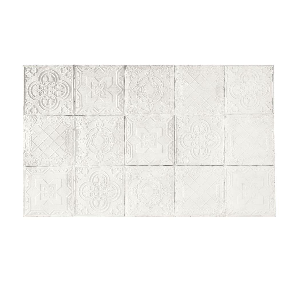 Tête de lit 200 en pin massif motifs mosaïques blanches