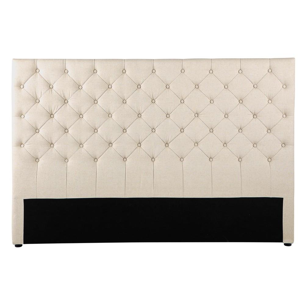 Tête de lit capitonnée vintage en lin L 180 cm