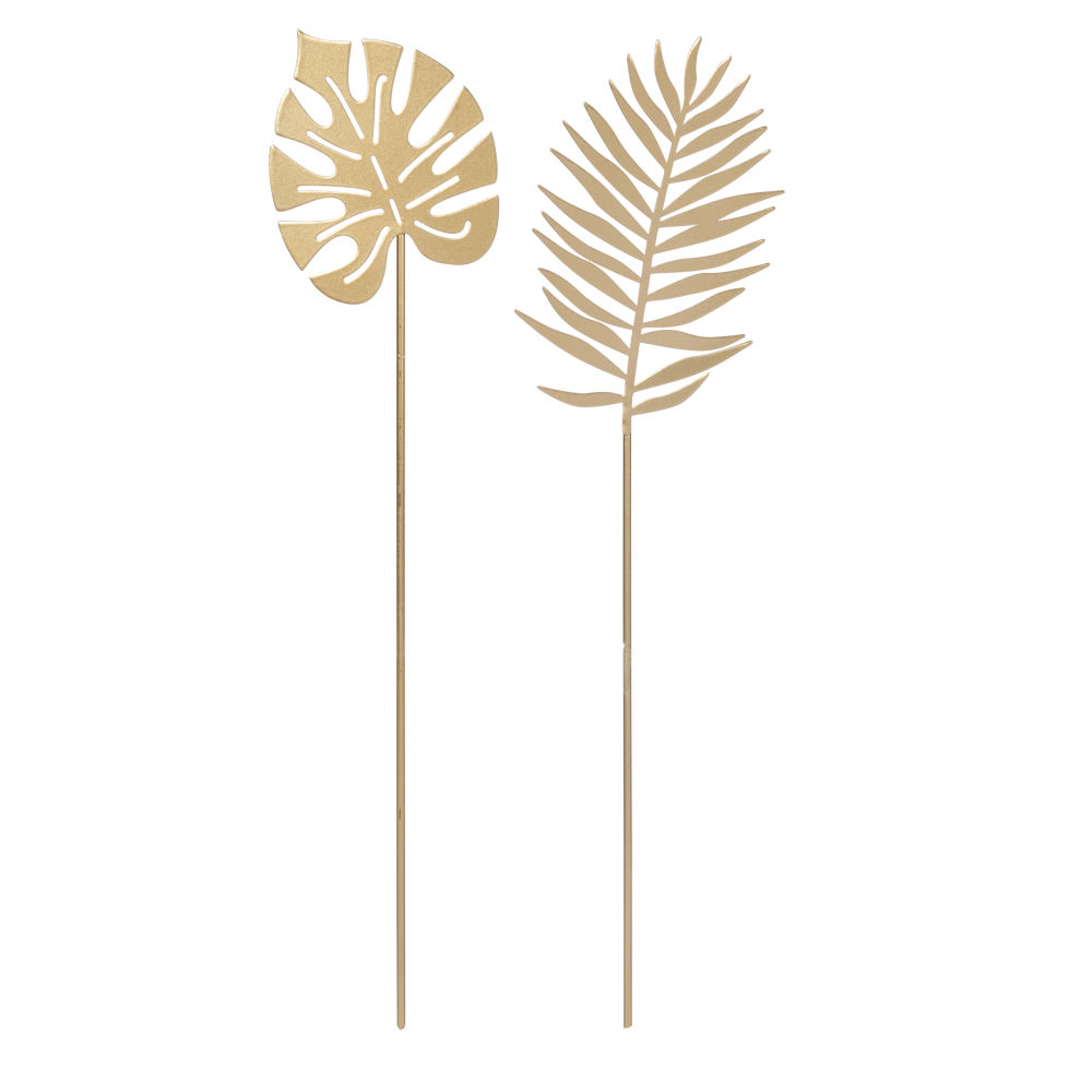Tiges de palmier et monstera à planter en métal doré (x2)