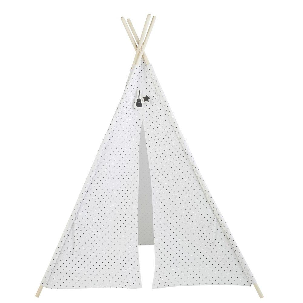 Tipi enfant blanc motifs étoiles noires et pin