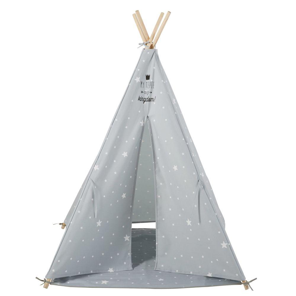Tipi enfant gris imprimé étoiles blanche avec tapis