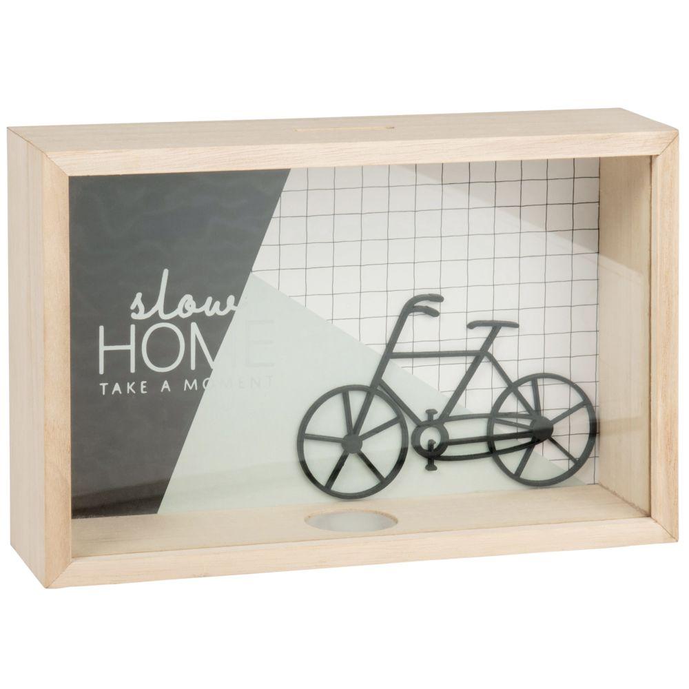 Tirelire cadre bicyclette noire et bleu clair