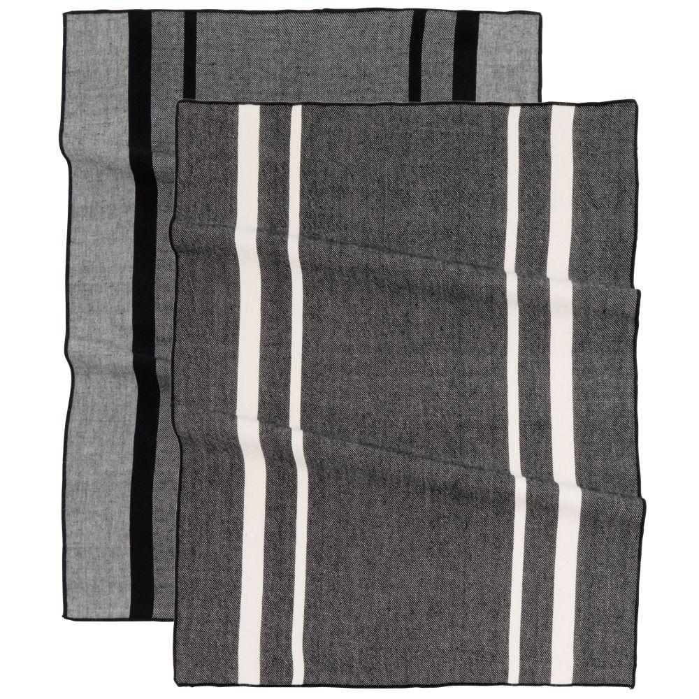 Torchons en coton bio tissé écru et gris anthracite (x2) 50x70