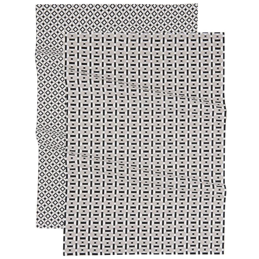 Torchons en coton imprimé blanc, noir et gris (x2)