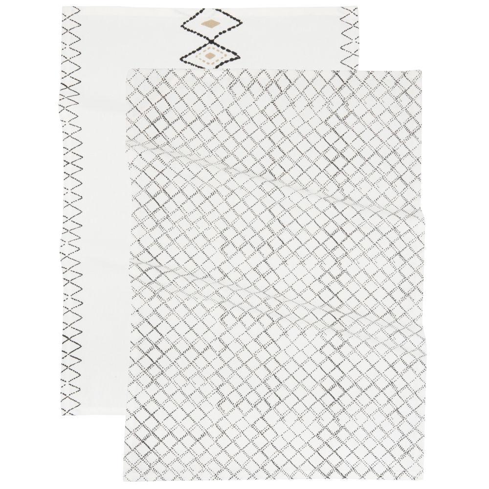 Torchons en coton tissé imprimé blanc, noir et beige (x2)