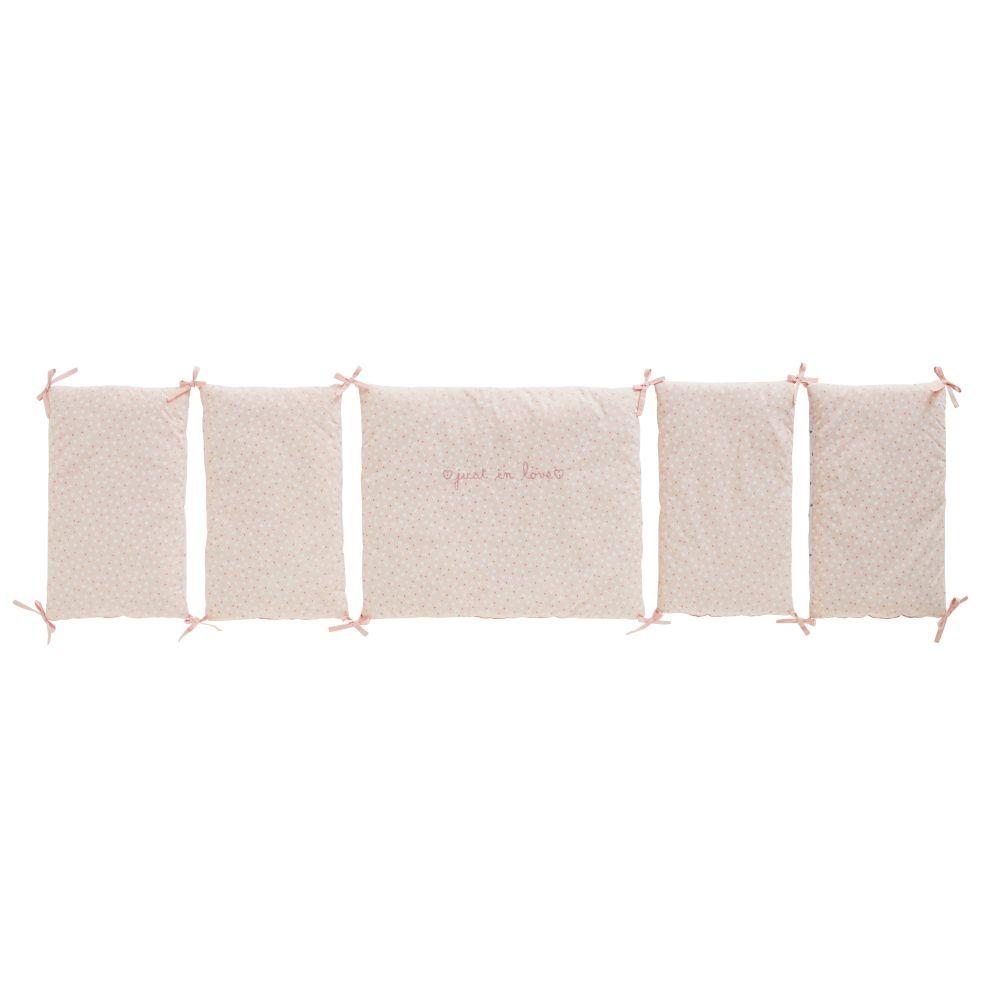 Tour de lit bébé en coton blanc et rose à motifs