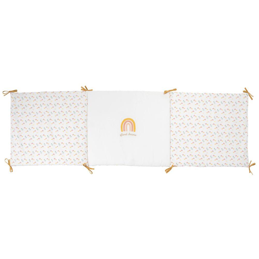 Tour de lit bébé en coton motifs palmiers et arcs-en-ciel multicolores