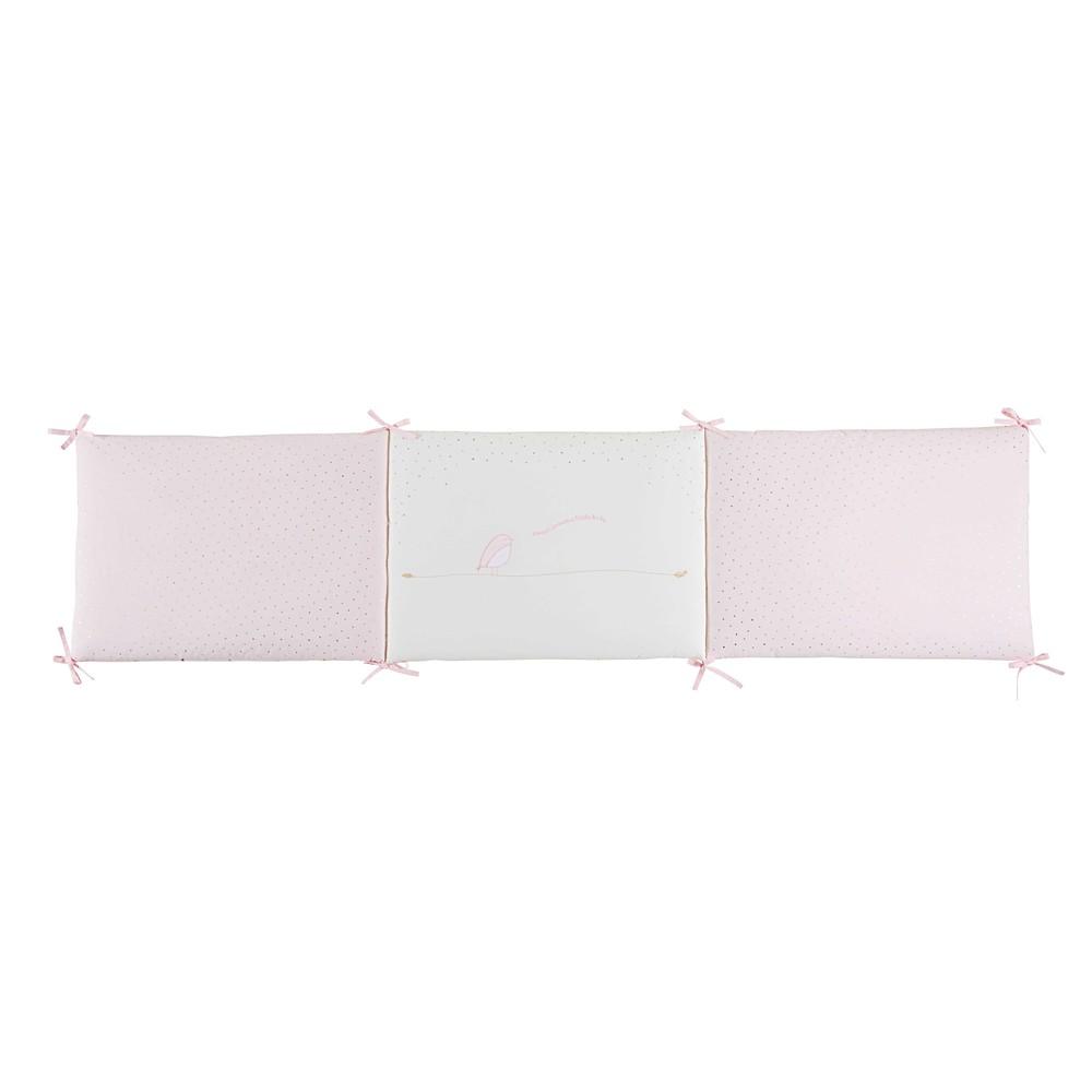 Tour de lit bébé en coton rose et blanc