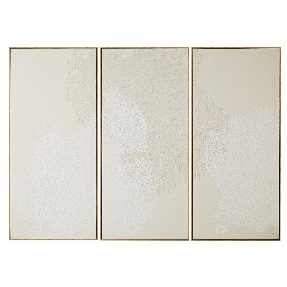 Triptyque En Toile De Lin Imprimé Coraux 167x120