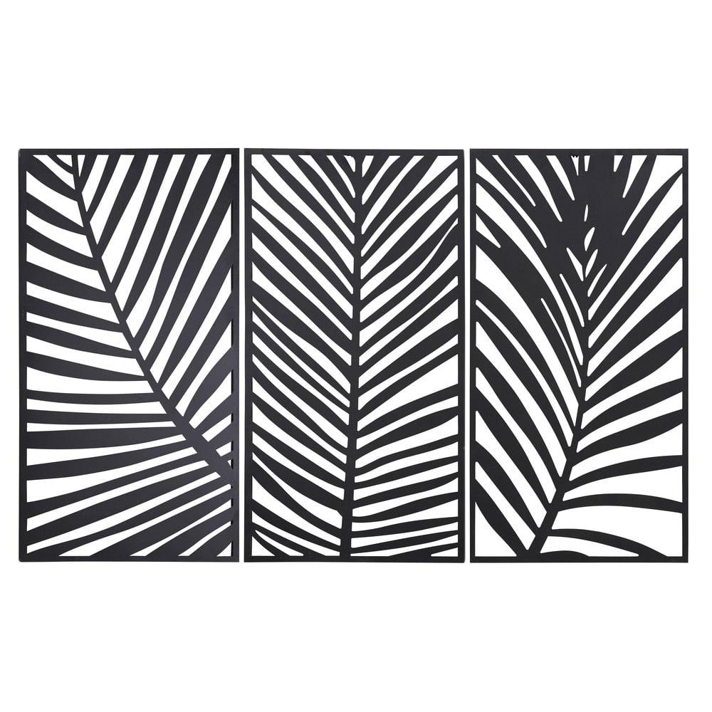 Triptyque feuilles de palmiers en métal noir 144x90