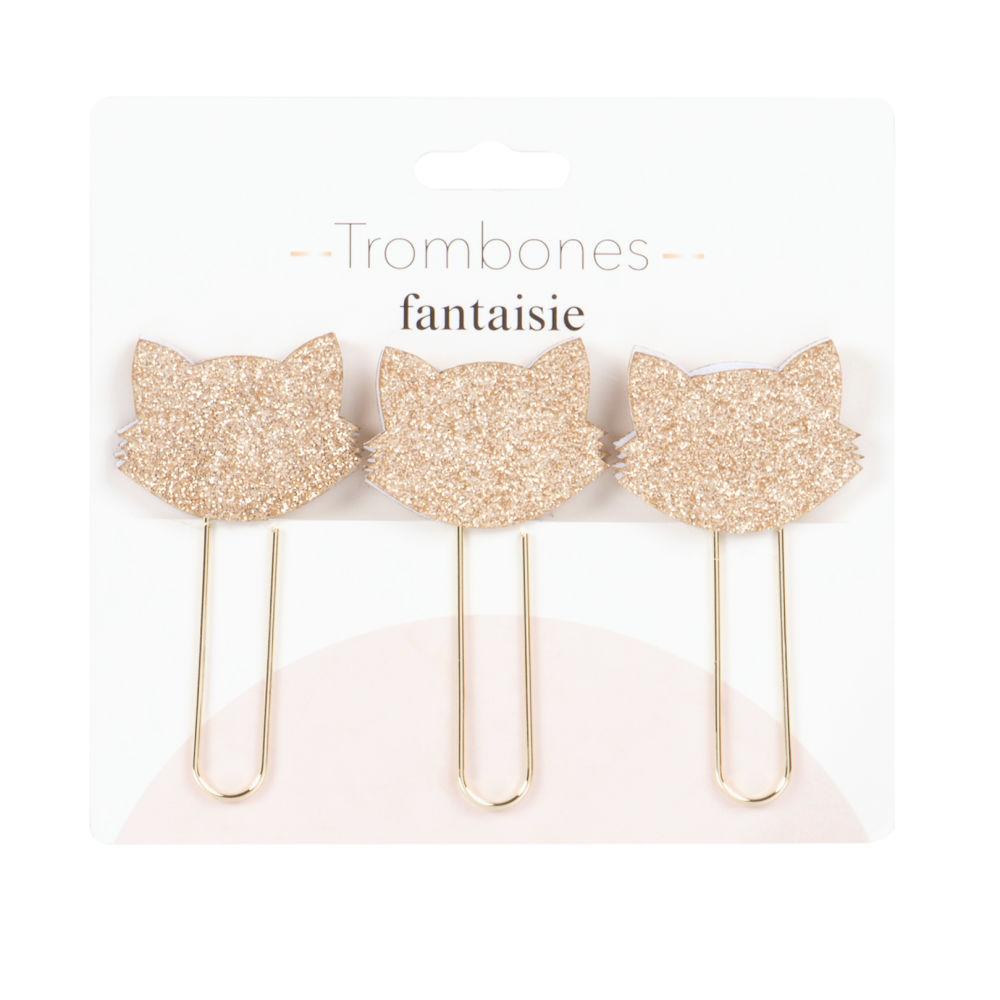 Trombones chat en métal doré (x3)