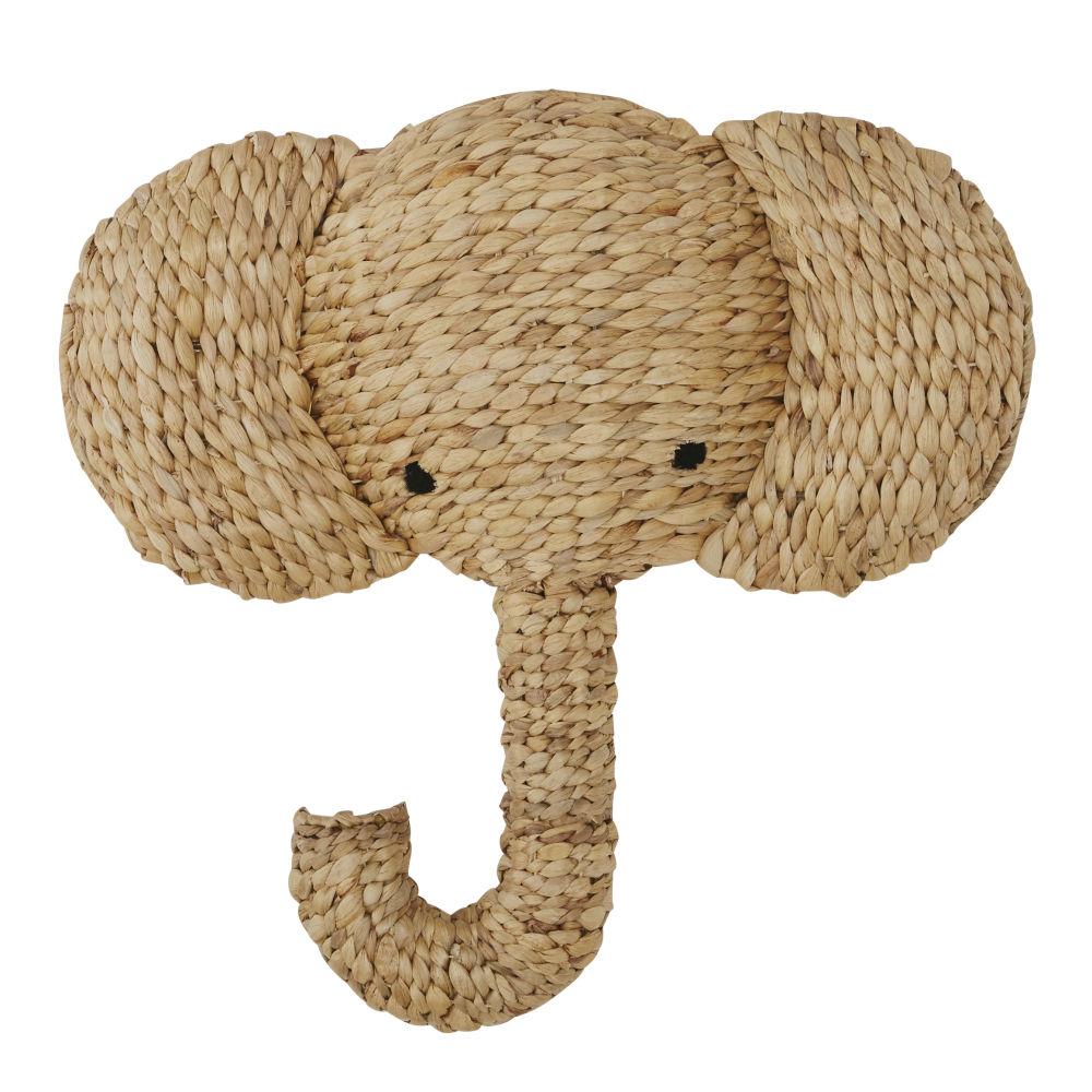 Trophée mural éléphant en fibre végétale 52x50