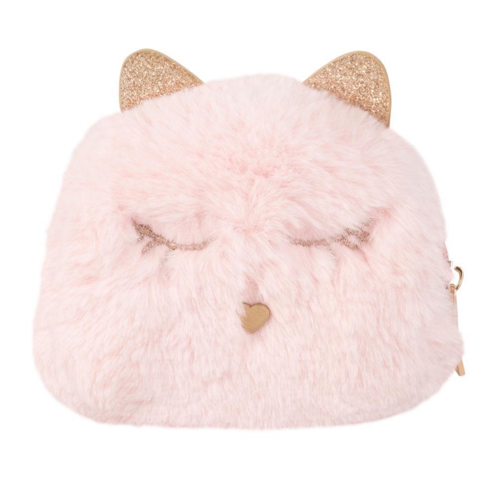 Trousse chat rose et paillettes dorées