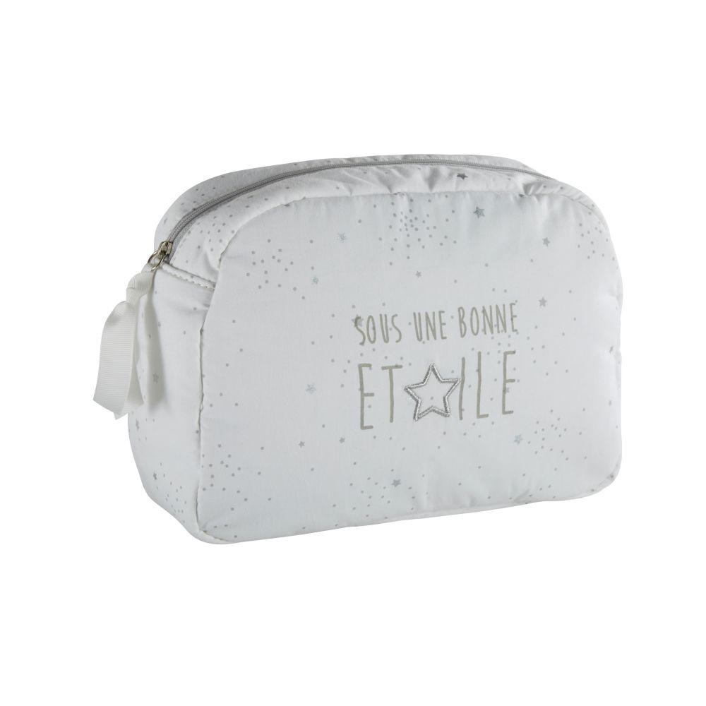 Trousse da bagno neonato in cotone bianco, grigio e argentato