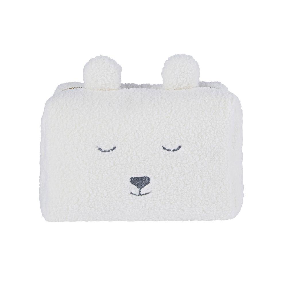 Trousse da bagno per bebè con orso tessuto bouclé bianco