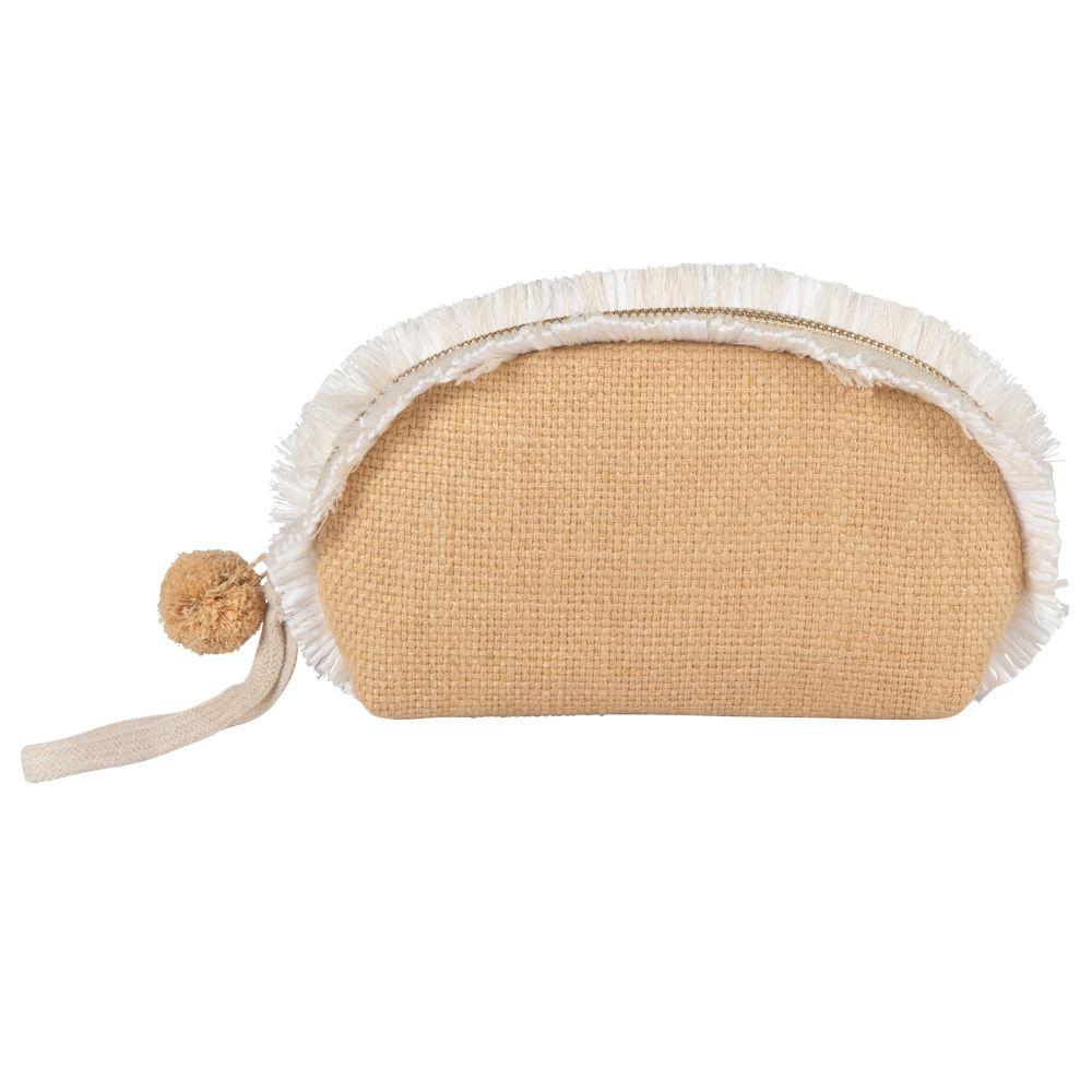Trousse demi-lune en coton et lin beiges
