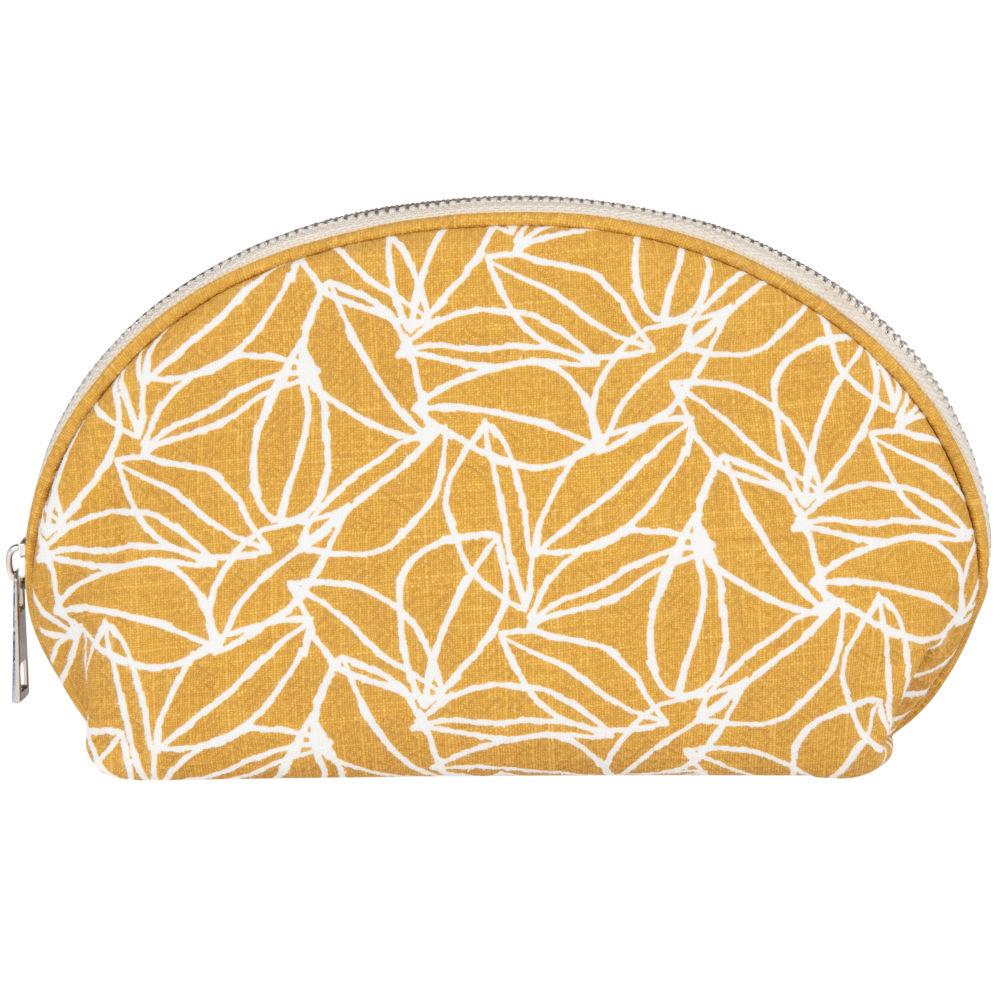 Trousse en coton et ramie jaune imprimé floral beige