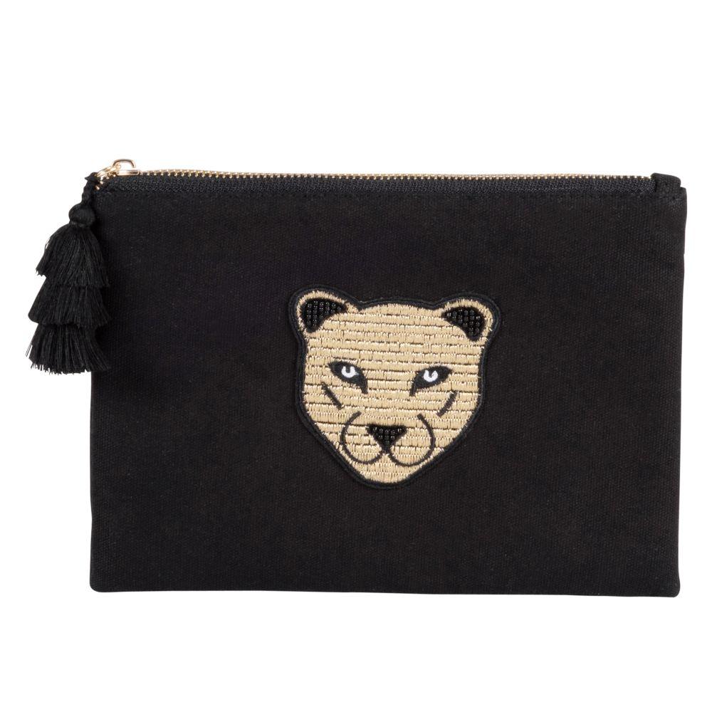 Trousse en coton noir à motif léopard doré