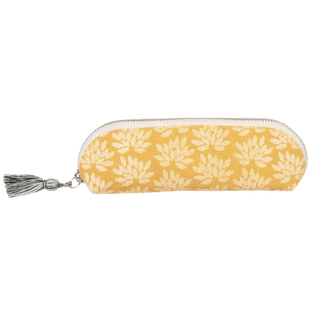 Trousse jaune motif floral