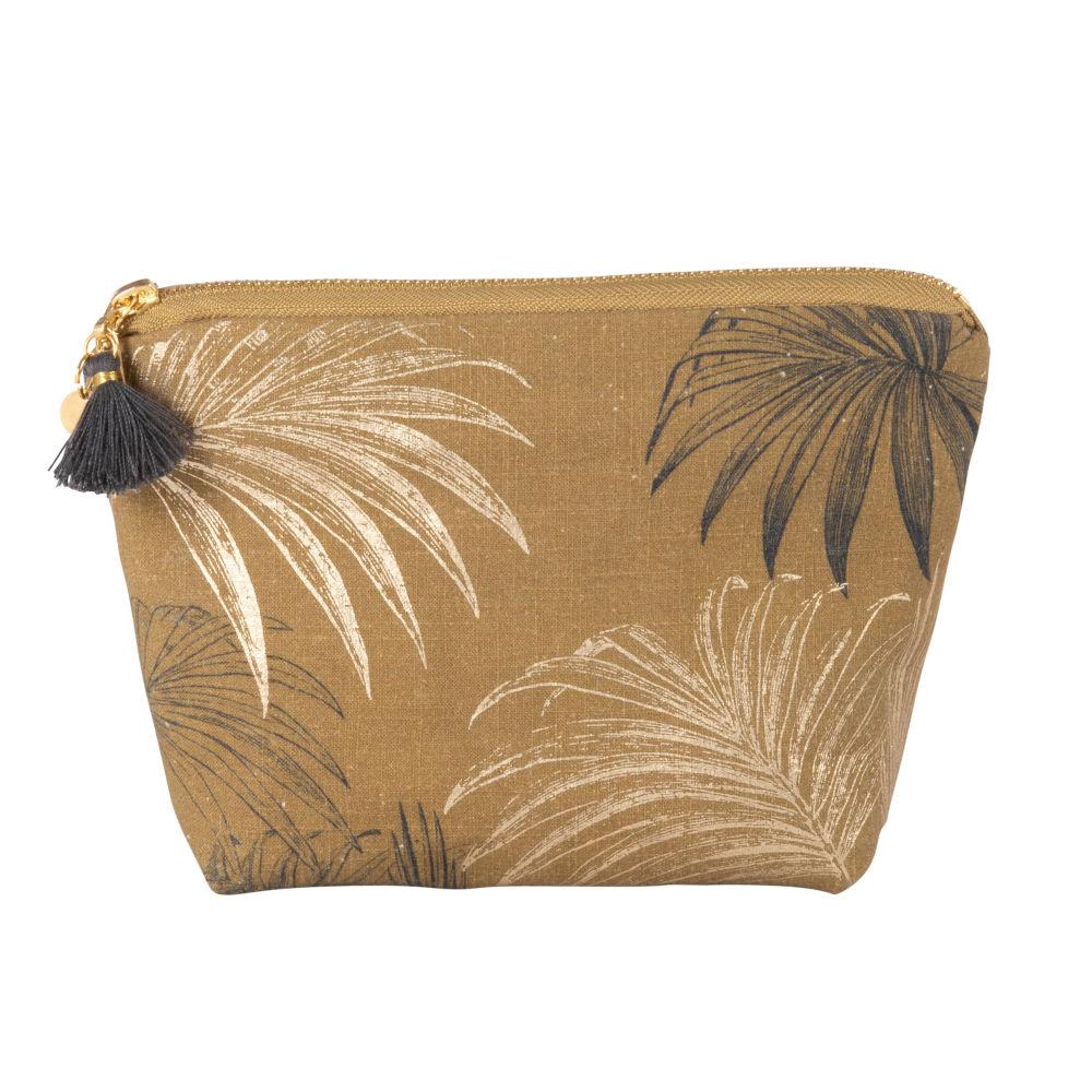 Trousse marron imprimé feuille de palmier