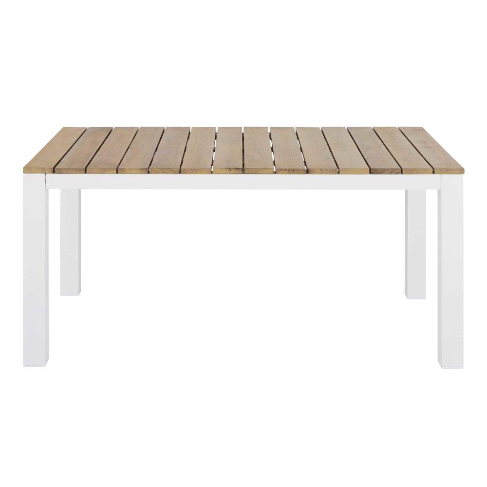 Tuineettafel Voor 4 Personen Van Massief Teakhout En Wit Aluminium Voor Professioneel Gebruik L140