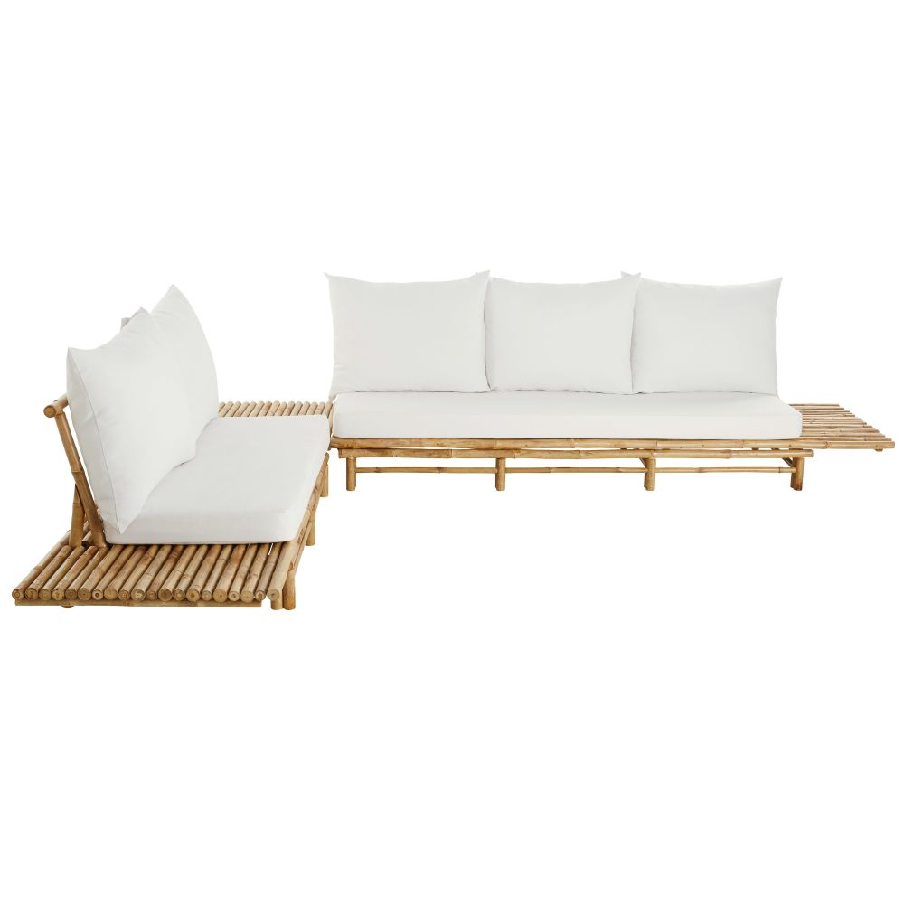 Tuinhoekzetel Uit Bamboe Met 4/6 Zitplaatsen En Gebroken Witte Kussens