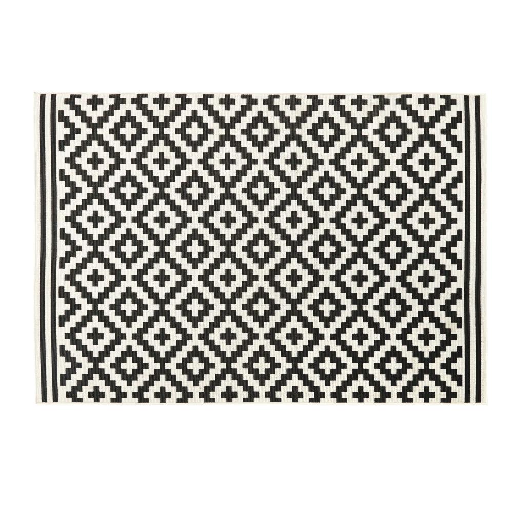 Tuintapijt Van Geweven Polypropyleen Met Zwarte En Witte Grafische Motieven 120x180