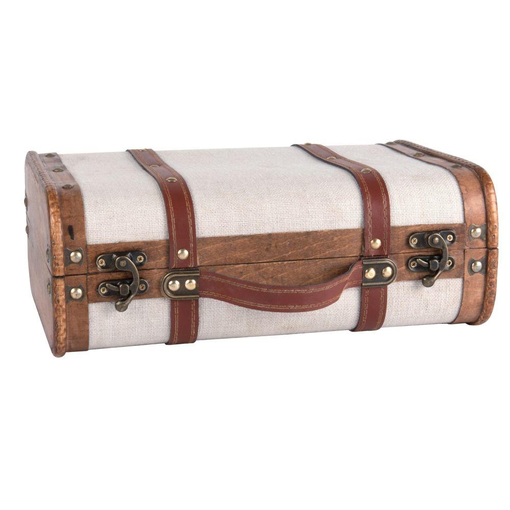 Valise blanche et marron
