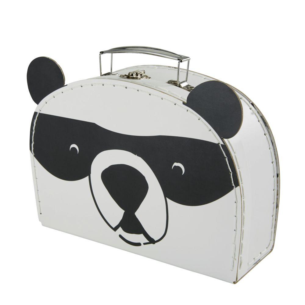 Valisette panda en papier et carton noirs et blancs