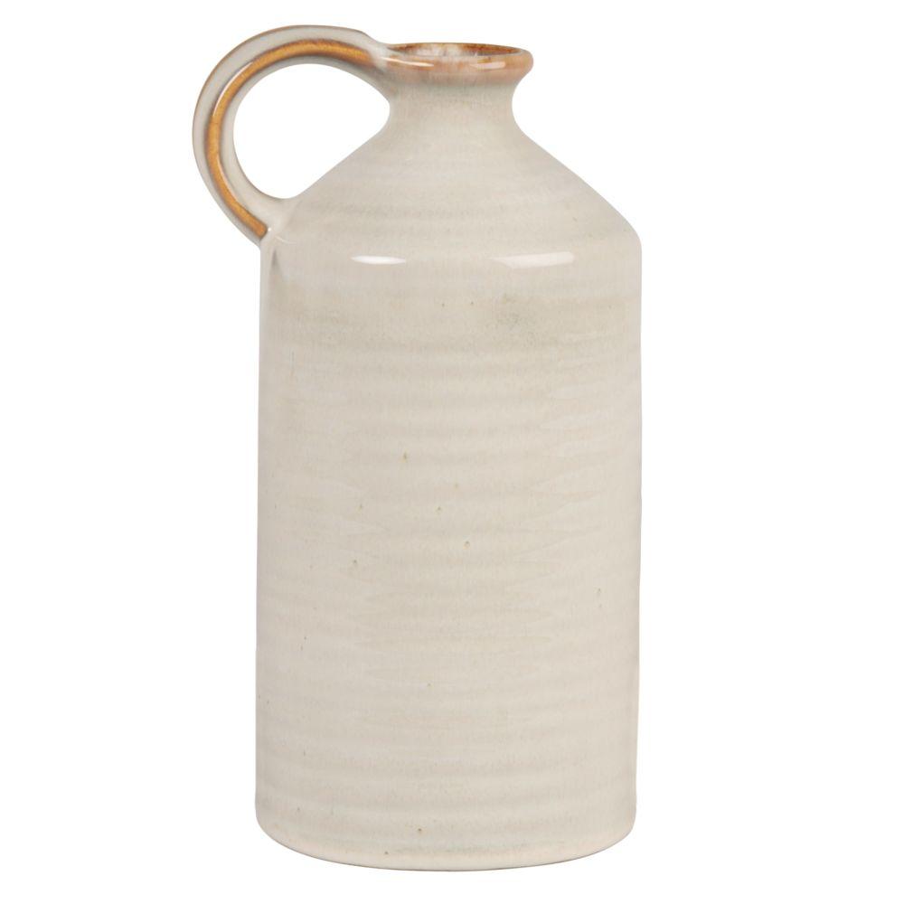 Vase à anse en grès blanc H23
