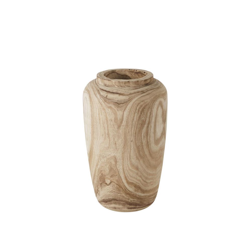 Vase allongé en paulownia poli beige H46