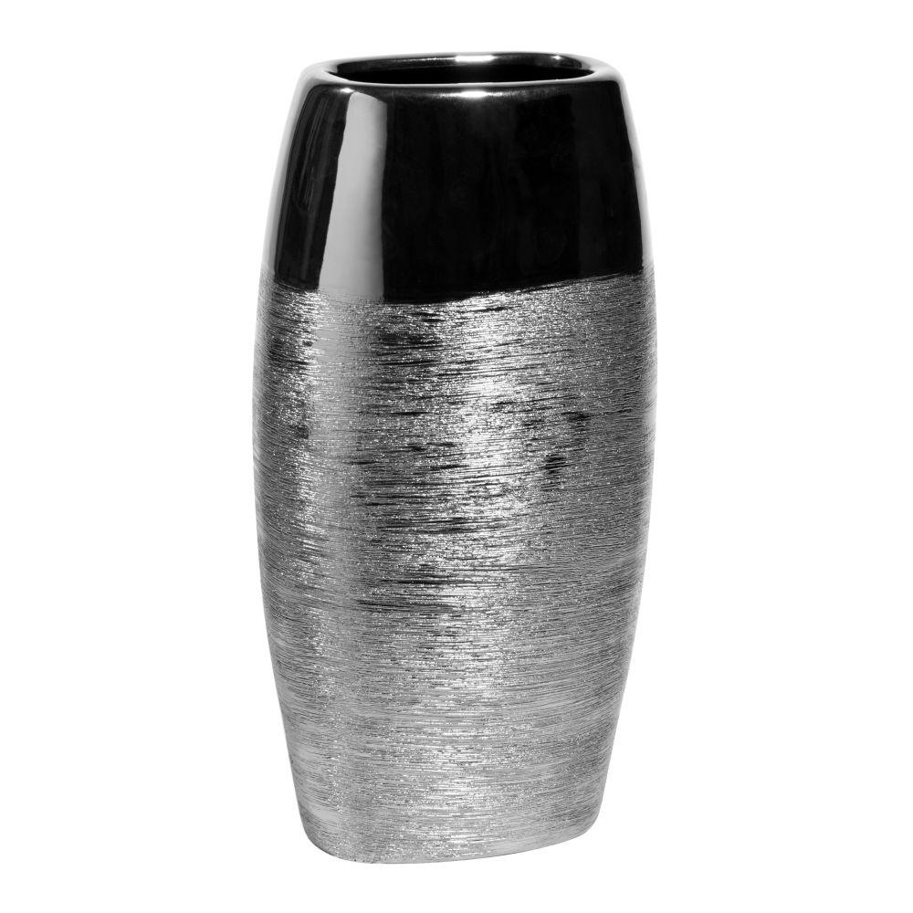 Vase amande en céramique argenté H 34 cm