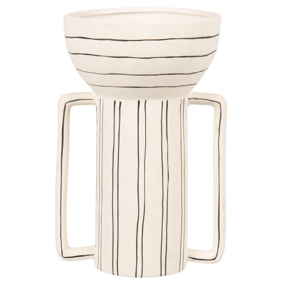 Vase avec anses en porcelaine blanche et lignes noires H21