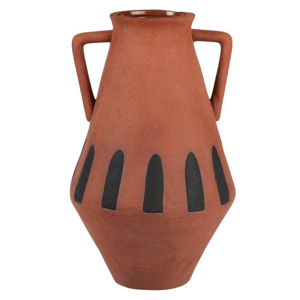 Vase avec anses en terre cuite orange motifs noirs H28
