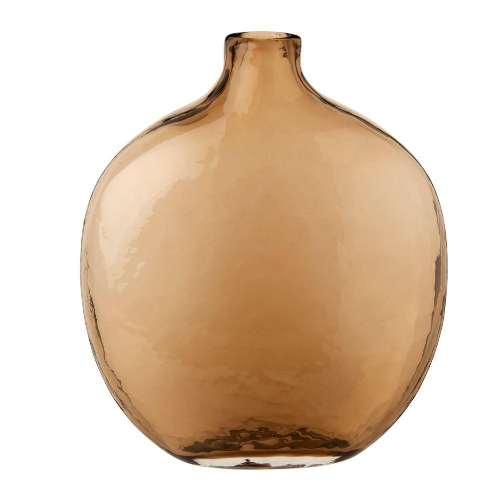 Vase bouteille en verre martelé teinté marron H24