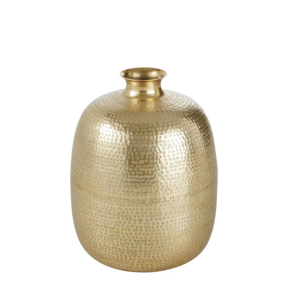 Vase En Aluminium Martelé Doré Brillant H47