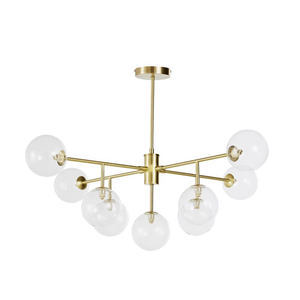 Vergulde Metalen Hanglamp Met 9 Glazen Bollen
