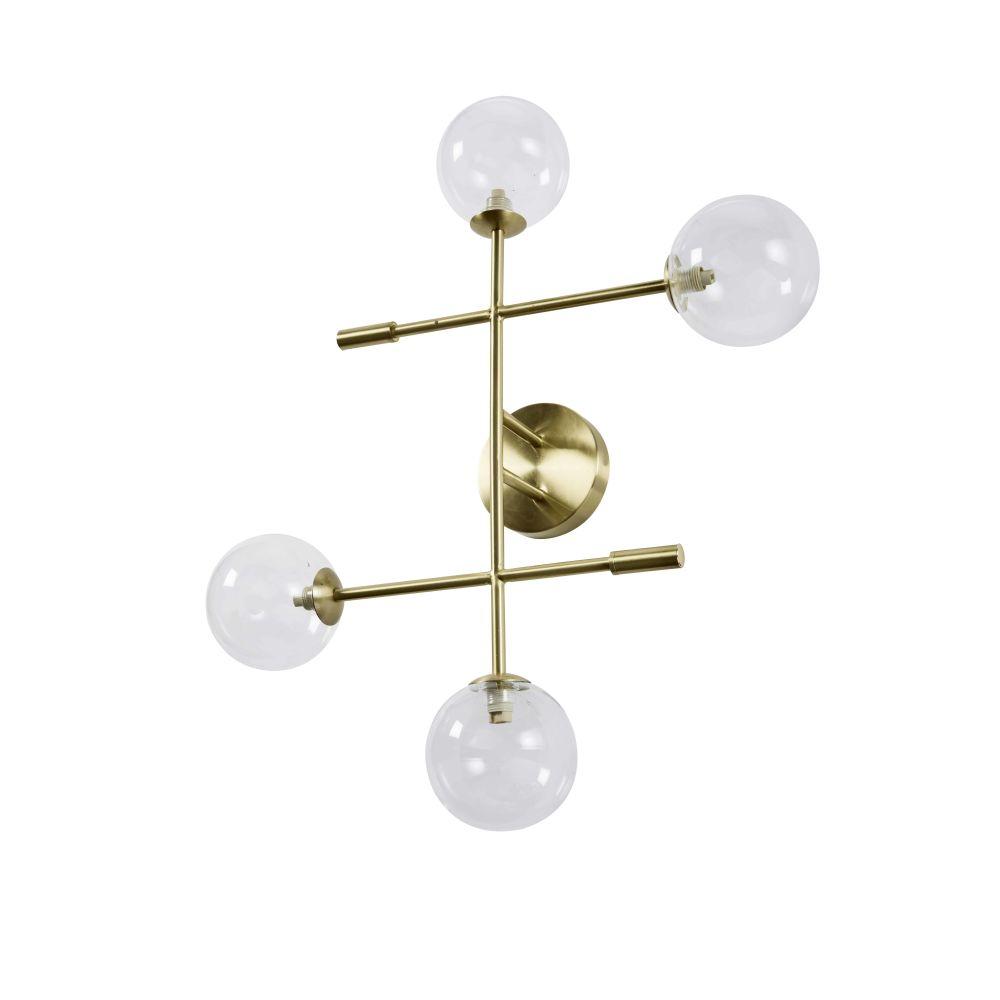 Vergulde Metalen Staande Lamp Met 4 Glazen Bollen