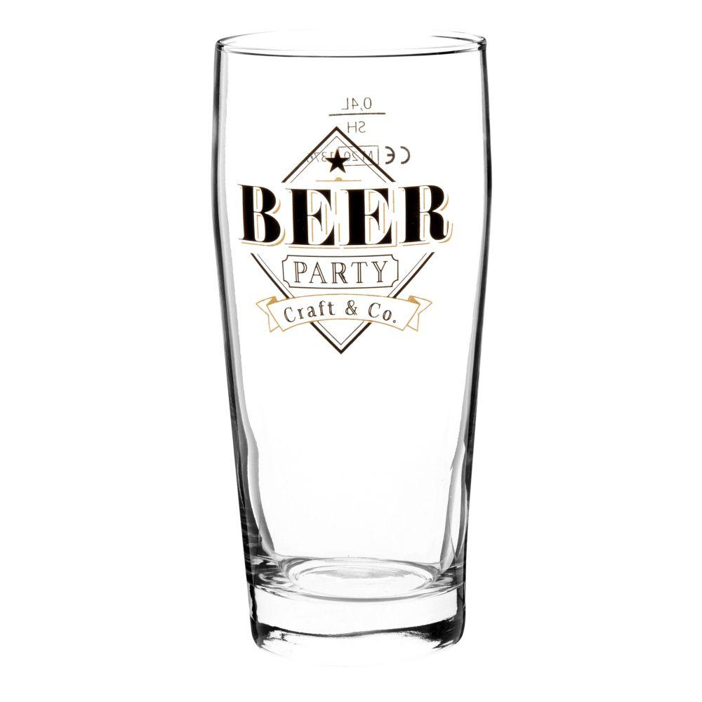 Verre à bière en verre imprimé noir et doré