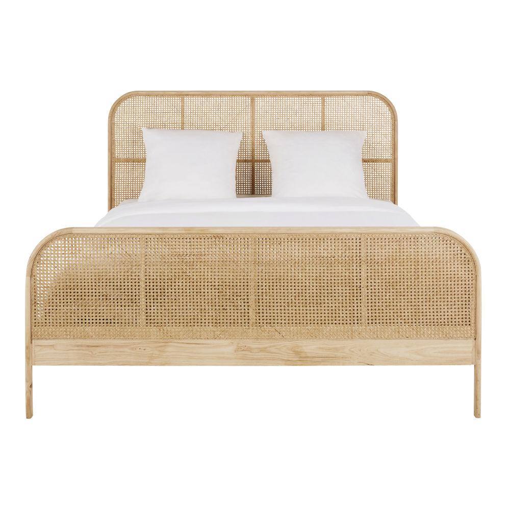 Vintage-Bett 160x200 aus massiver Eiche und Rattan-Rohr